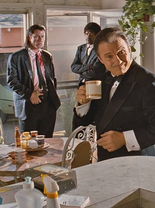 """Pulp Fiction - How does the Wolf take his coffee? """"Lots of cream. Lots of sugar"""" #GangsterFlick"""