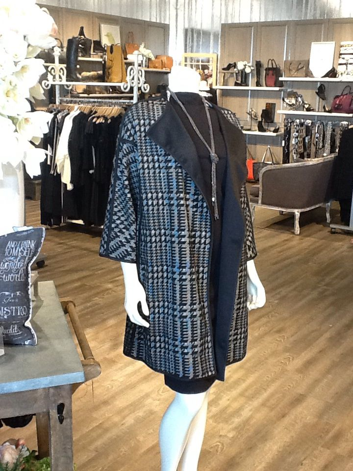 Stunning layering piece. This I C Collection semi-tailored   houndstooth jacket has a very ladylike, retro look that a silver screen heroine like Grace Kelly or Audrey Hepburn would have worn. Rétro chic is so stylish for fall 2015.