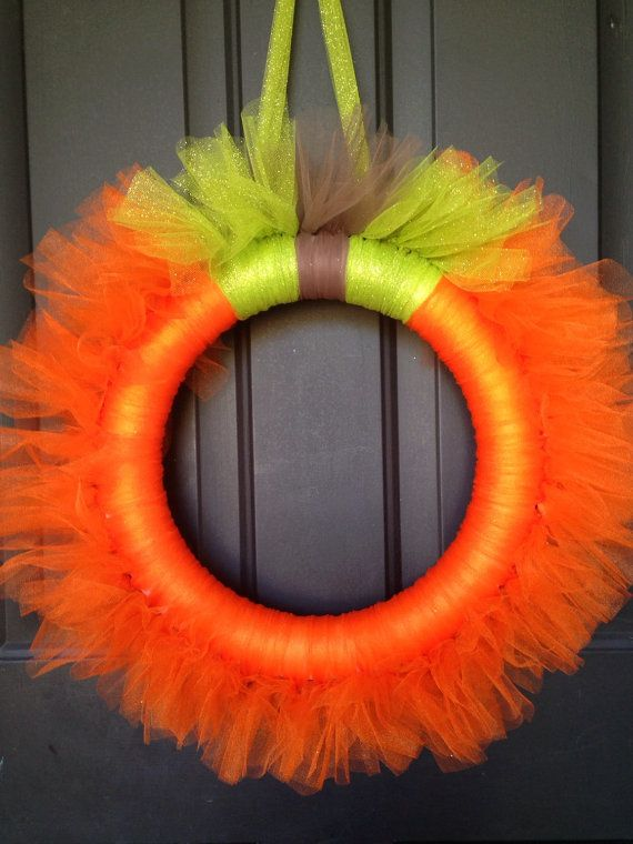 This tulle wreath is made on a 14in foam wreath form so it is good sized.