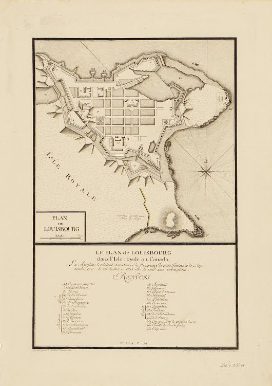 Scarce and attractive plan of Louisbourg fortress, 1789  A scarce retrospective plan depicting the strategic fortress of Louisbourg on Cape Breton Islan... - Boston Rare Maps Inc - Google+