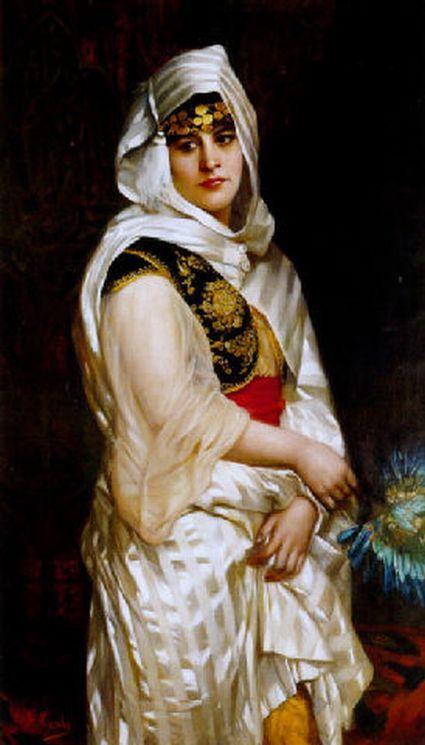 Giovanni Costa (Italian, 1833-1893)  – Jeune femme Turque à l'éventail