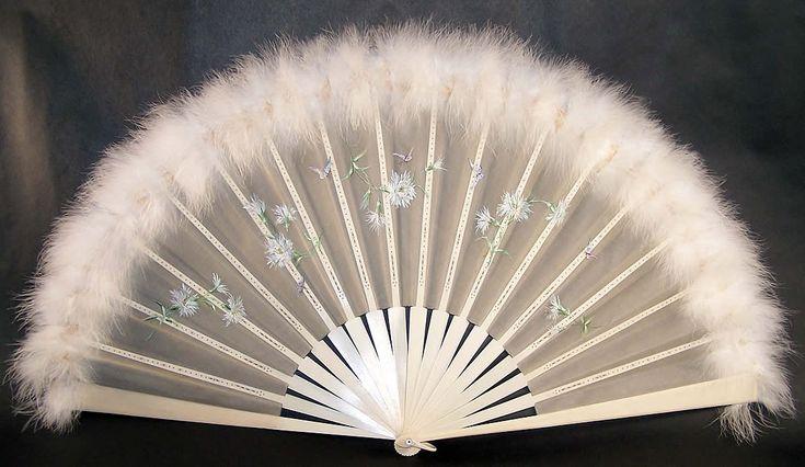 Victorian Dandelion Butterfly Feather Fan & Box   Front view.