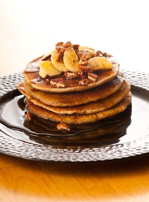 Gluten Free, Vegan, Dessert, Breakfast, Pancakes, Maple Syrup, Recipe, Short Stack Pancakes with walnuts and bananas