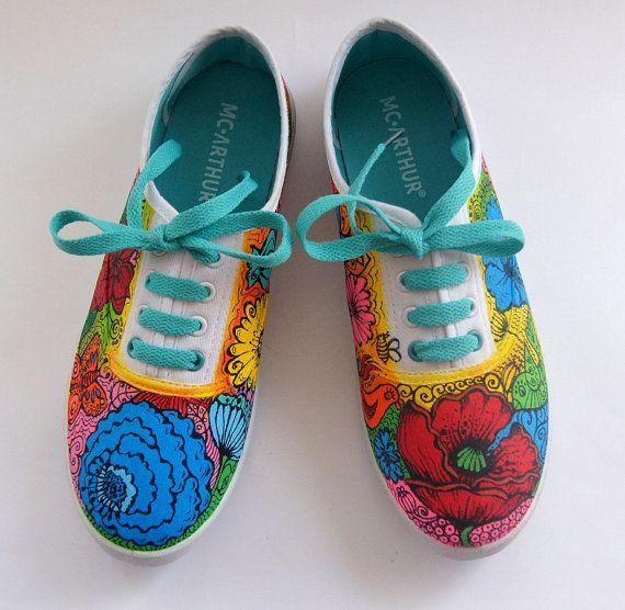 Vans Shoes Colored Sneakers Painted Vans  Summer by atelierChloe