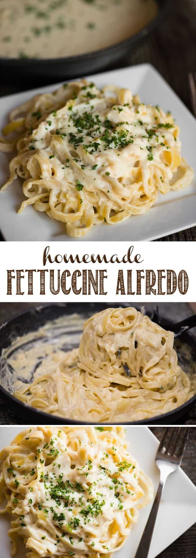Fettuccine Alfredo, made with a rich, creamy, garlic-infused parmesan sauce and tender homemade pasta, is comfort food at it's finest! This decadent meal can be served on it's own, or topped with cajun chicken or shrimp. You'll never find a better Fettuccine Alfredo recipe than this one! #Fettuccine #Alfredo #FettuccineAlfredo #pasta #cheese #homemade #dinner #recipe