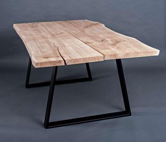 1 900 zł: Stół o wymiarach 105 / 200 / 75 cm, Blat dębowy o grubości 4,5 cm z żywą krawędzią Podstawa stalowa, kolor - czarny mat  Koszt i sposób transportu do uzgodnienia.