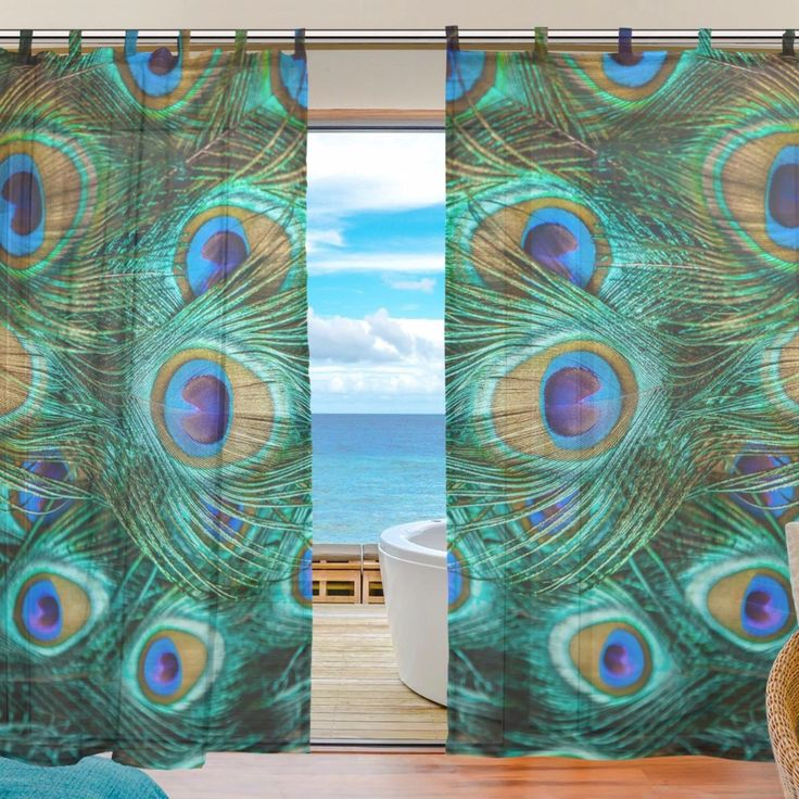 peacock eyelet curtains