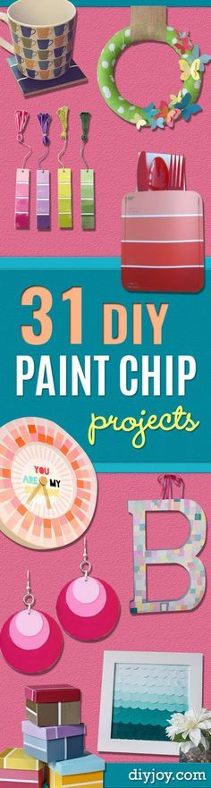 DIY Projects Made With Paint Chips - Best Creative Crafts, Easy DYI Projects You Can Make With Paint Chips - Cool Paint Chip Crafts and Project Tutorials - Crafty DIY Home Decor Ideas That Make Awesome DIY Gifts and Christmas Presents for Friends and Family http://diyjoy.com/diy-projects-paint-chips