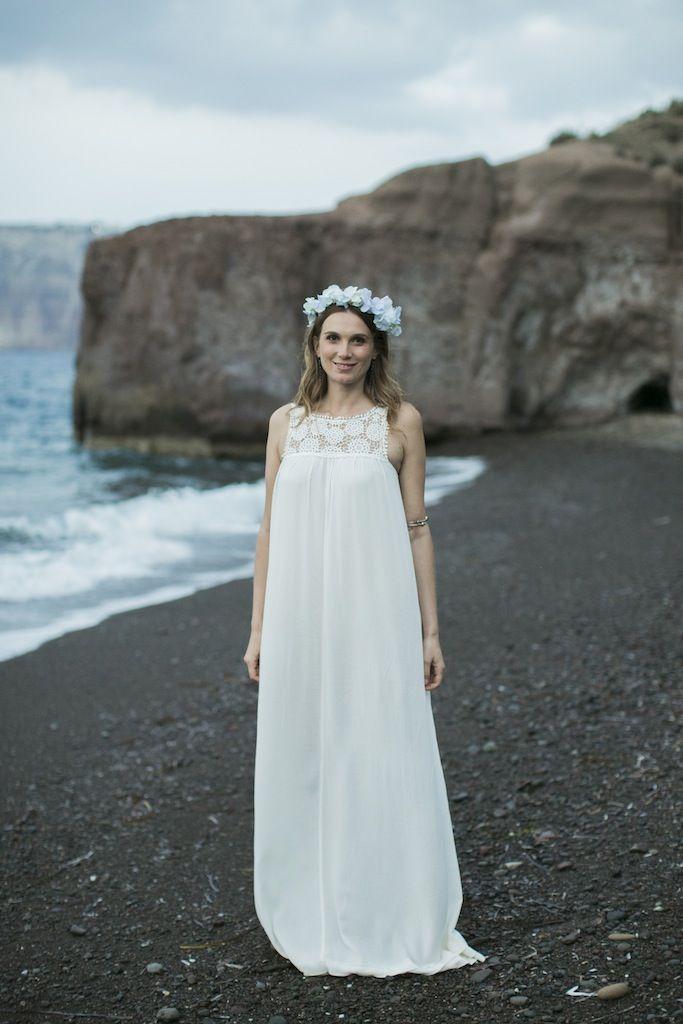 Boho styled wedding in Santorini |flower crown
