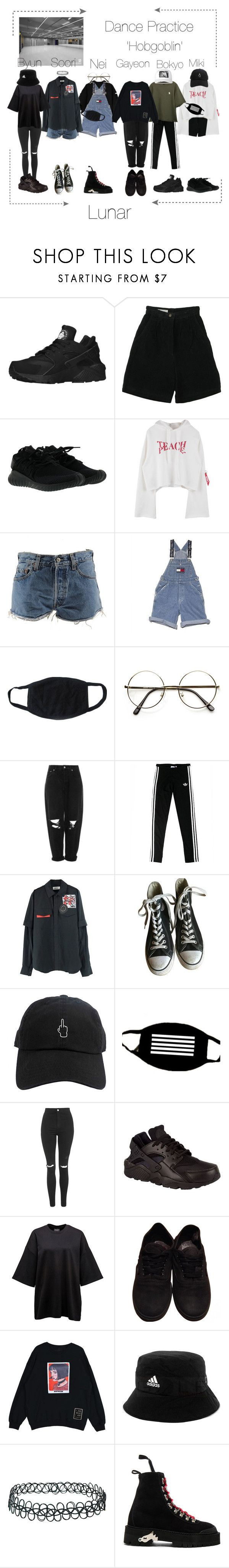 """Lunar 음력 'Hobgoblin' Dance Practice"" by lunar-official ❤ liked on Polyvore featuring NIKE, Retrò, adidas, Levi's, Ralph Lauren, Boutique, Converse, Topshop, Vans and Off-White"