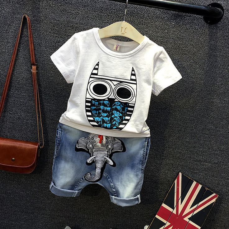 2016 Boys Sets Character owl T Shirt Ripped Denim Shorts 2 Pieces Girls Clothing Sets Casual Summer Children Clothing Sets