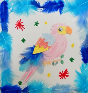 Le perroquet avec des plumes