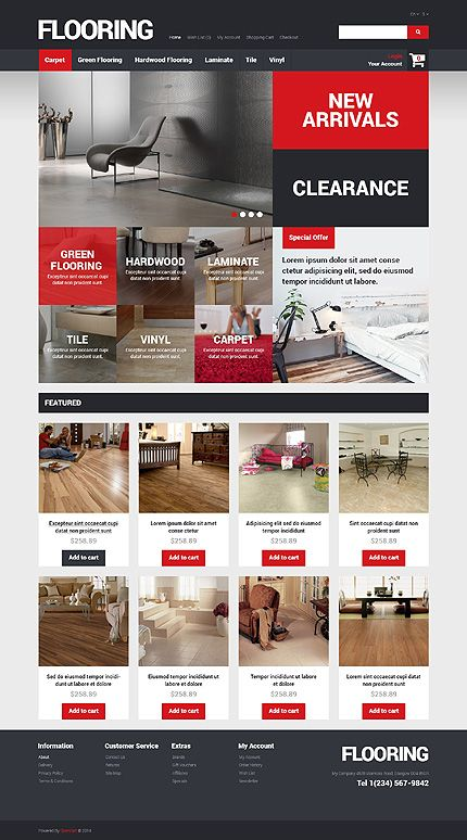 Template 49260 - Flooring Company  Responsive OpenCart Template