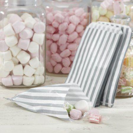 Ginger Ray Sacchetti di caramelle bianco e argento a righe X 25 - 4,79€