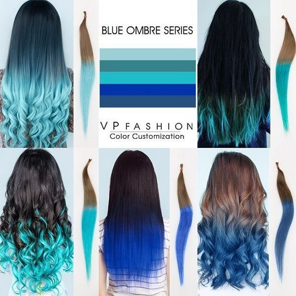 Top 5 Black Brown Hair Extensions with Blue Tips on blog.vpfashion.com ❤ liked on Polyvore featuring hair