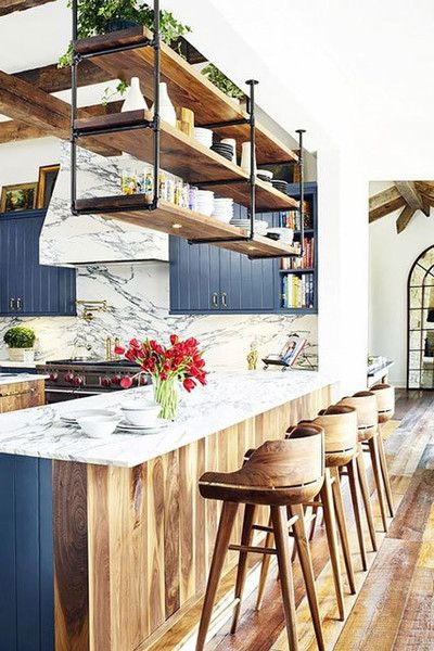 Neat Navy - 15 Times Painted Kitchen Cabinets Changed Everything - Photos