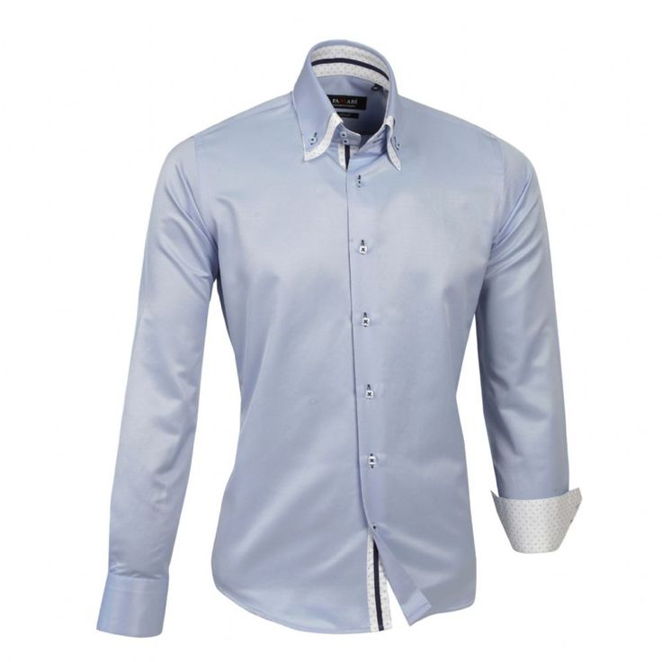 Shop online from our beautifully tailored Farrabi shirts. Button down – Polka Under Collar Slim Fit Formal Double collar dress shirt blue. Check out other polka shirts!