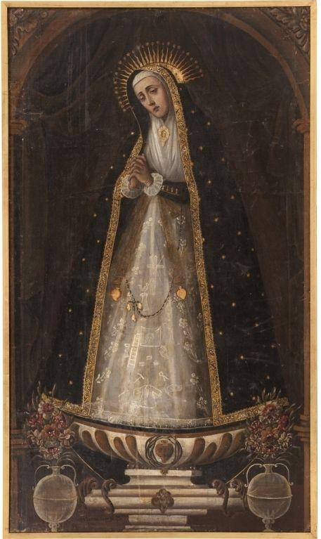 José Garcilaso, Virgen de la Soledad de La Victoria de Madrid, óleo sobre tela, 201.5 x 115 cm., ca. 1770-1800, colección particular, fotografía propiedad de Galerías Louis C. Morton, catalogación: Juan Carlos Cancino.