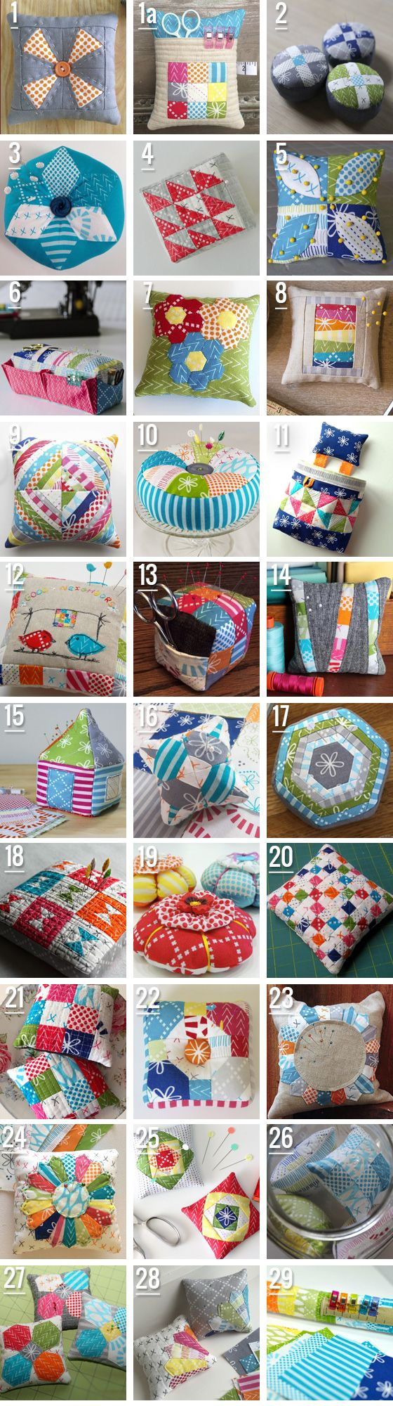 What an awesome pincushion party! Thanks to all who participated! Go check out the Good Neighbors collection and try your own cushion!