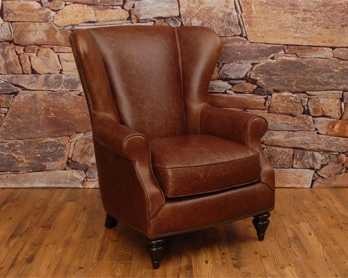 Wingback Leather Chair in Chaps Havanna