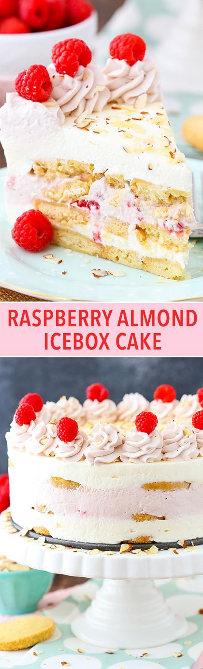 Raspberry Almond Shortbread Icebox Cake - layers of Walkers shortbread, coconut and raspberry mousse and fresh raspberries! No bake, easy and delicious!