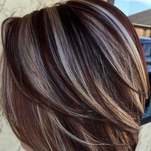 Coffee And Cream Lowlights And Highlights Brown Hair