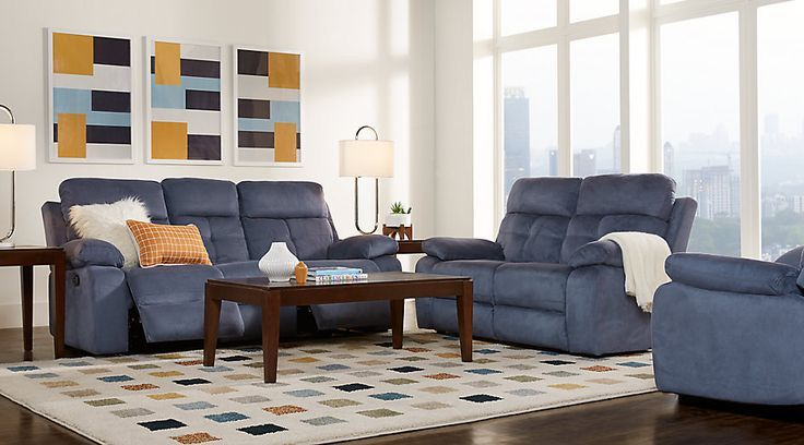 Corinne Blue 3 Pc Living Room With Reclining Sofa Blue Corenne Corinne Living Pc Living Room Sets Reclining Sofa Living Room Affordable Living Room Set