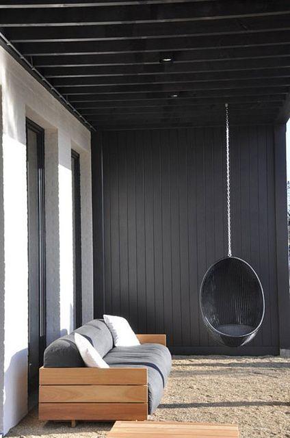 Terrace. Home. Outdoor Living. Modern. Hanging Seat. Wood. Black. Patio. Deck. Decor. Design. Home.