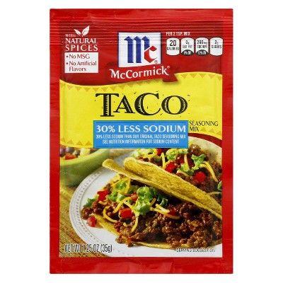 McCormick® Taco Seasoning Mix 30% Less Sodium 1.25oz : Target