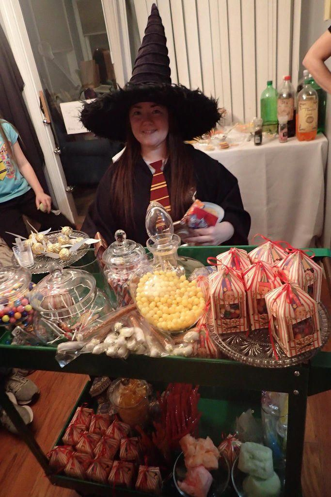 Anything Off The Trolley Cart Dears Cart From Home Improvement Store Spray Painted Green Then Harry Potter Candy Harry Potter Theme Party Home Improvement