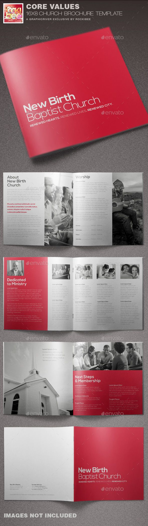 PSD Church Brochure Template #missions brochure #modern #non-profit • Click here to download ! http://graphicriver.net/item/core-values-church-brochure-template/15784208?s_rank=371&ref=pxcr