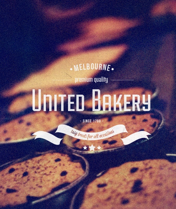 """United Bakery"" Buy from -http://graphicriver.net/item/premium-quality-8-vintage-labels-logo-badges/4622963?WT.ac=portfolio_1=portfolio_author=SAOStudio"