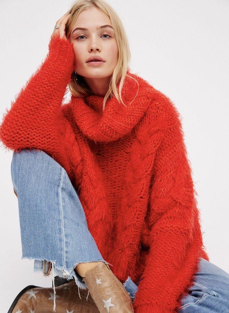 5f97daa66 NWT Free People orange Chunky Fuzzy Cable Knit Turtleneck Crop Swing Sweater  XS  FreePeople  oversizedsweater