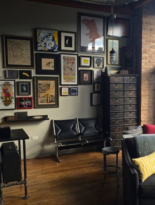 Leather chairs and velvet sofa plus metal files/storage plus metal table (far left); wood floors plus brick; wood frames plus paper and photos.  Draw a line down the planning page and plan out what fabrics, raw materiials, furniture,  colors, accessories you plan to use so you can see how and if there will be a balance, or if there will be a preponderance of one element.