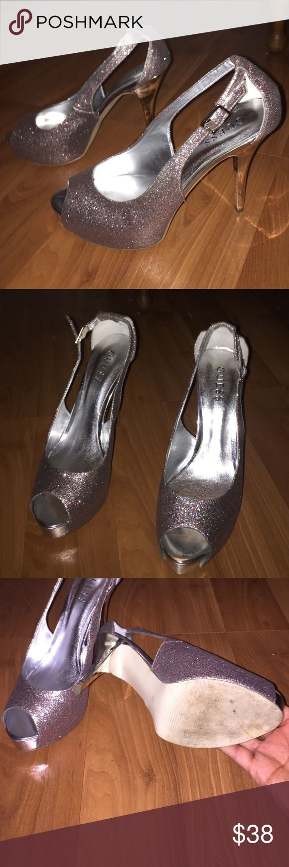 Prom Heels Guess Peep Toe Sz 8.5 Guess peep toe platform sz 8.5. Worn once for prom. Silver & pink glitter approximately 5in heel. No trades price is a low as I will go Guess Shoes Heels
