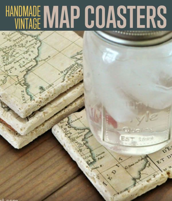 Handmade Vintage Map Coasters | This is a great DIY coaster you can make for your kitchen. #DIYReady DIYReady.com