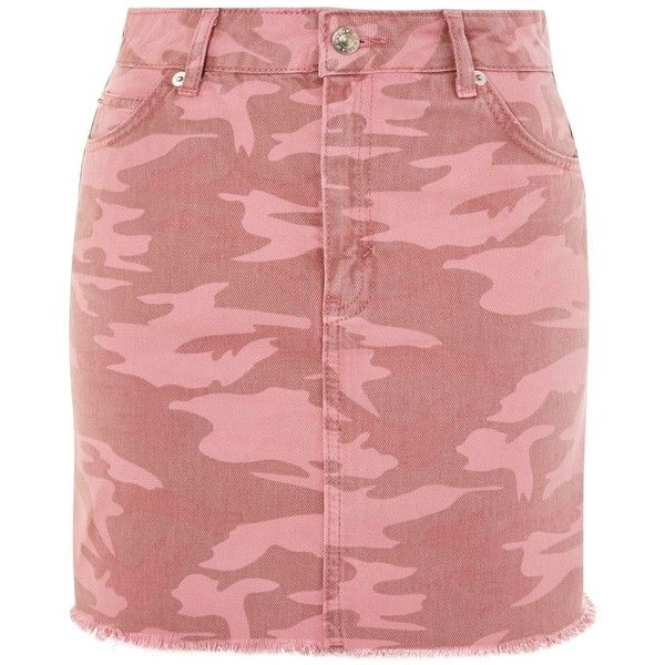 44cd2b88f Topshop Moto Pink Camouflage Denim Skirt ($44) ❤ liked on Polyvore  featuring skirts, mini skirts, pink, camouflage denim skirt, topshop skirts,  denim skirt ...