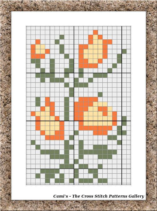 Mini cross stitch flowers pattern Cross by CamisTheCrossStitch
