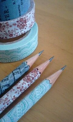 Washi tape pencil. Variation: use several horizontal strips with different patterns.