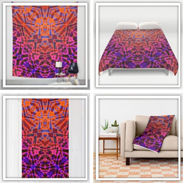 """Design """"Ethnic Tribal Pattern G316"""" by medusa81 on Polyvore https://society6.com/product/fractal-art-stained-glass-g316_print#1=45  #Society6 #medusart #medusagraphicart #rug #duvet #cover #throw #blanket #wall #tapestry #Ethnic #Tribal #Pattern #geometric #abstract #ethno #tribe #ornament #maya #aztec #indian #american #navajo #design #striped #mexican #texture #indigenous #peru #native #entangled #entaglement #orange #pink #purple"""
