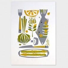 Fish Dish Screen Print by Holly Roach