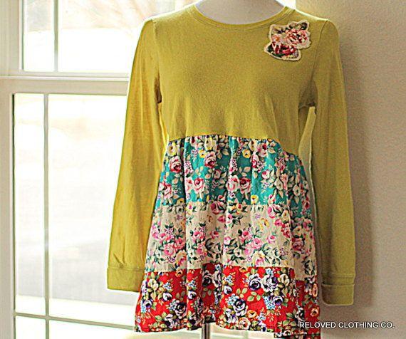 Women's Babydoll Boho Shabby Shirt Size Large by RelovedClothingCo