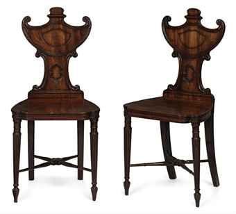 Pair of George III Mahogany Hall Chairs, ca. 1790