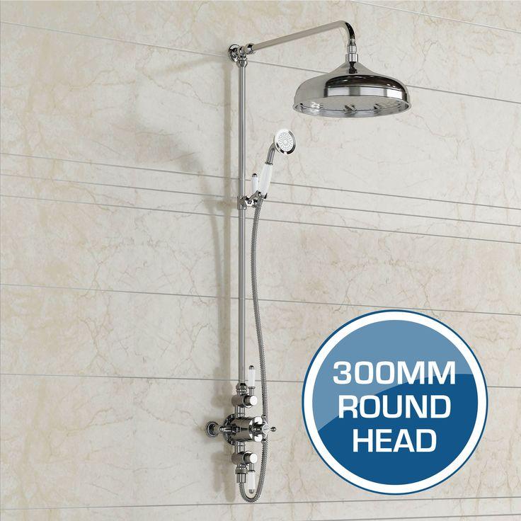 Thermostatic Mixer Shower Set | 300 mm Traditional Head & Hand Held - BathEmpire