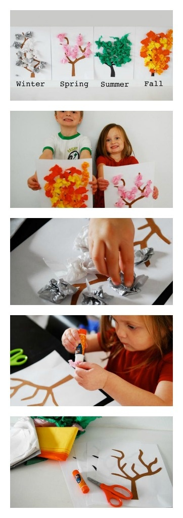 Learn about the four seasons - Kids love crumpling up tissue paper!