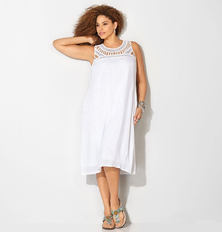 Find the perfect plus size white dress for your white parties and bbqs like the plus size Crochet Trapeze Dress available online at avenue.com. Avenue Store