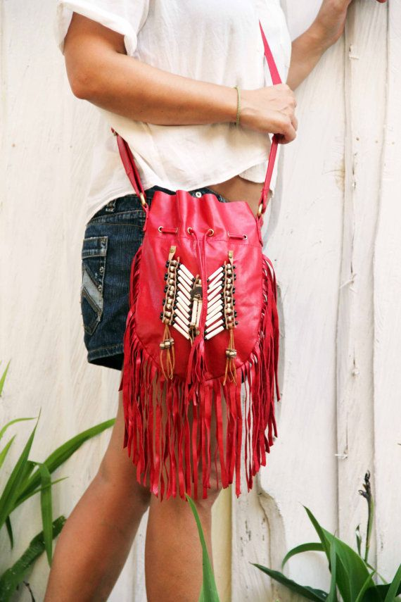 Boho fringe leather bag red leather purse medium by etnikabali