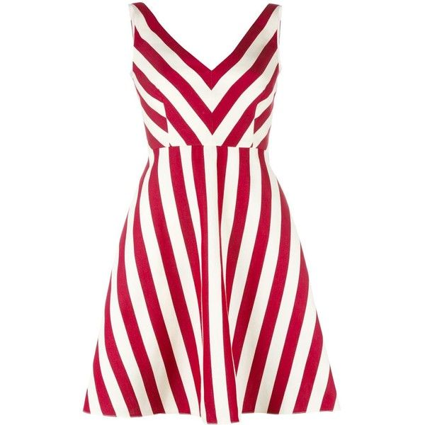 Red Valentino striped dress ($600) ❤ liked on Polyvore featuring dresses, red, white striped dress, striped dress, red valentino, red dress and stripe dresses