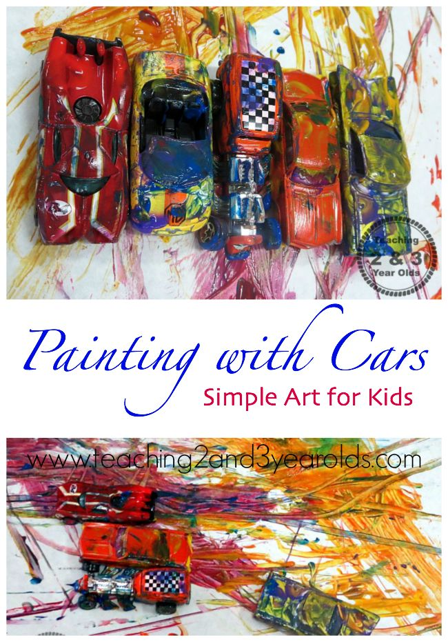 Teaching 2 and 3 Year Olds: Kids Paint Activities Using Cars