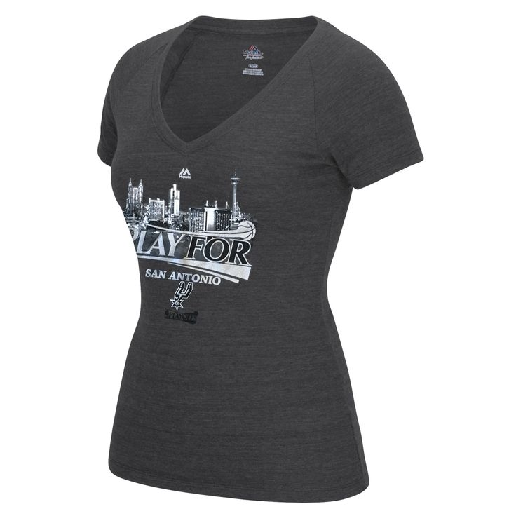 "Gear up for the NBA Playoffs with the Ladies' V-neck ""Play For San Antonio"" T-shirt by Majestic. This cotton/poly blend shirt is a comfortable way to rep your city and your team. The San Antonio skyline and team name is screen printed on the front along with the NBA playoffs logo underneath. Head down to the stadium looking good or just get comfy on the couch while you cheer your Spurs to another victory!     FEATURES           Fabric: 60% cotton / 40% polyester      V-neck"